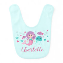 Cute Mermaid Personalized Girl Baby Bib