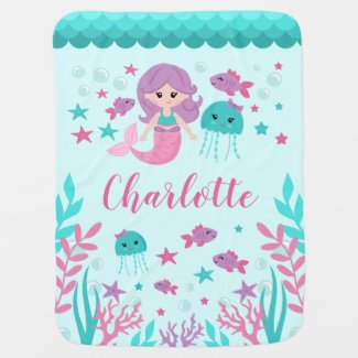 Cute Mermaid Personalized Girl Baby Blanket