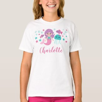 Cute Mermaid Personalized Girl T-Shirt
