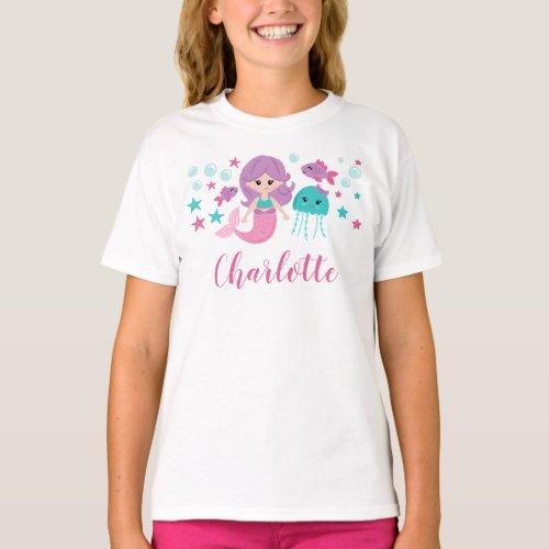 Cute Mermaid Personalized Girl T_Shirt