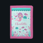"""Cute Mermaid Personalized Girl Trifold Wallet<br><div class=""""desc"""">A cute mermaid personalized kids wallet for a little girl.</div>"""