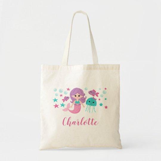 Cute Mermaid Personalized Tote Bag