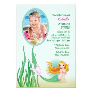Cute Mermaid Photo Invitation