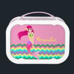 "Cute Mermaid Pink Yubo Lunch Box<br><div class=""desc"">A pretty little mermaid floats on a rainbow sea.</div>"
