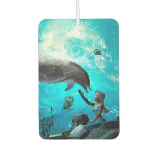 Cute mermaid playing with dolphin car air freshener
