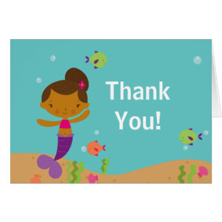 Cute Mermaid Pool Party Thank You Note Card