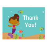 Cute Mermaid Pool Party Thank You Note Post Card