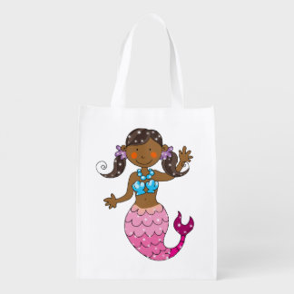 cute mermaid princess (dark hair) grocery bag