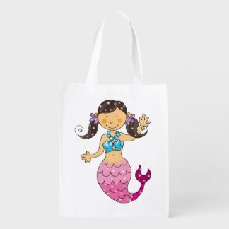 cute mermaid princess (dark hair) reusable grocery bag