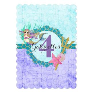 Cute Mermaid Purple Baby Girl Birthday Invitation