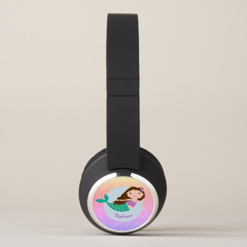 Cute Mermaid Rainbow Glitter Personalized Headphones