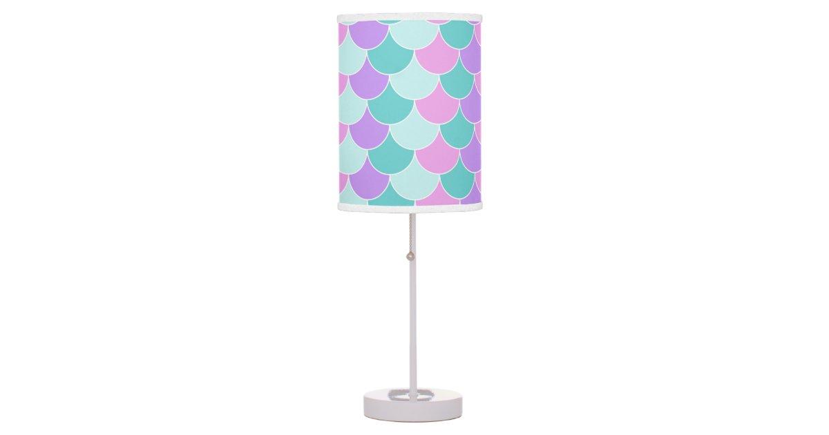 Cute Mermaid Scales Pattern Girls Room Decor Lamp Zazzle Com