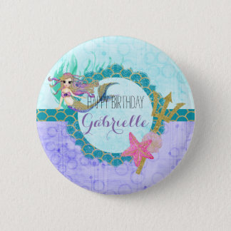 Cute Mermaid Teal & Purple Monogram Happy Birthday Button