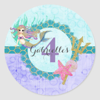 Cute Mermaid Teal & Purple Name Age Birthday Party Classic Round Sticker