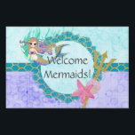 """Cute Mermaid Teal &amp; Purple Welcome Mermaids Lawn Sign<br><div class=""""desc"""">Cute Watercolor mermaid,  shells,  trident,  scales and starfish with Custom Text Welcome Mermaids in Purple,  Aqua &amp; Teal with bubbles and Gold Glitter Accents. A fun girly mermaid design with Personalized Text.</div>"""
