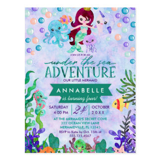 Cute Mermaid Theme Birthday Party Invitations