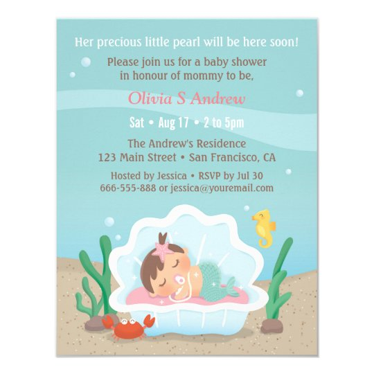 Cute Mermaid Under The Sea Baby Shower Invitations