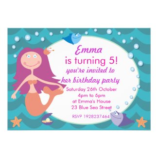 Cute Mermaid Under the Sea Birthday Party Invite