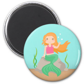 Cute Mermaid under the sea, for Girls 2 Inch Round Magnet
