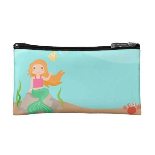 Cute Mermaid under the sea, for Girls Cosmetic Bags
