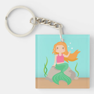 Cute Mermaid under the sea, for Girls Double-Sided Square Acrylic Keychain