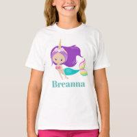 Cute Mermaid Unicorn add name t-shirt