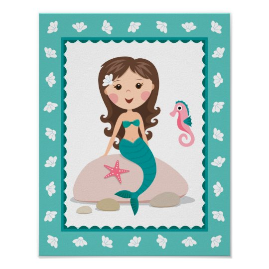 Mermaid Wall Art cute mermaid wall art print for girls rooms | zazzle