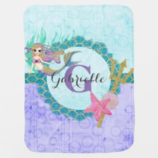 Cute Mermaid Watercolor Purple Monogram Baby Girl Swaddle Blanket