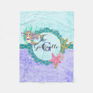 Cute Mermaid Watercolor Teal & Purple Monogram Fleece Blanket