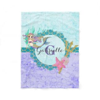 Cute Mermaid Watercolor Teal & Purple Monogram Fleece Blanket