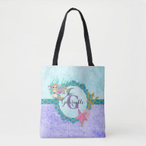 Cute Mermaid Watercolor Teal & Purple Monogram Tote Bag