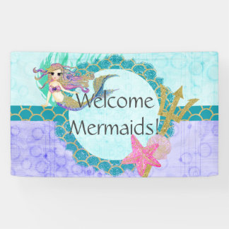 Cute Mermaid Welcome Mermaids Birthday Party Banner