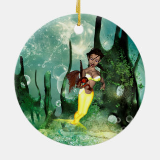 Cute mermaid with fantasy fish Double-Sided ceramic round christmas ornament