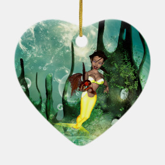 Cute mermaid with fantasy fish Double-Sided heart ceramic christmas ornament