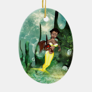 Cute mermaid with fantasy fish Double-Sided oval ceramic christmas ornament