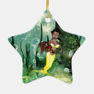 Cute mermaid with fantasy fish Double-Sided star ceramic christmas ornament