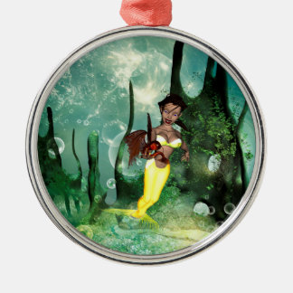 Cute mermaid with fantasy fish round metal christmas ornament