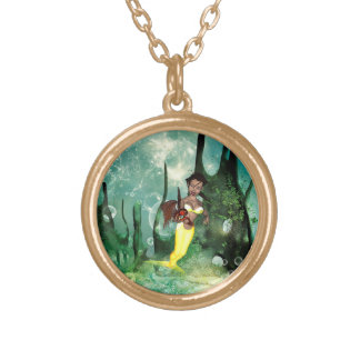 Cute mermaid with fantasy fish round pendant necklace