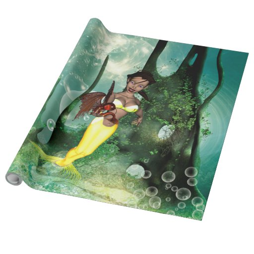 Cute mermaid with fantasy fish wrapping paper zazzle for Fish wrapping paper