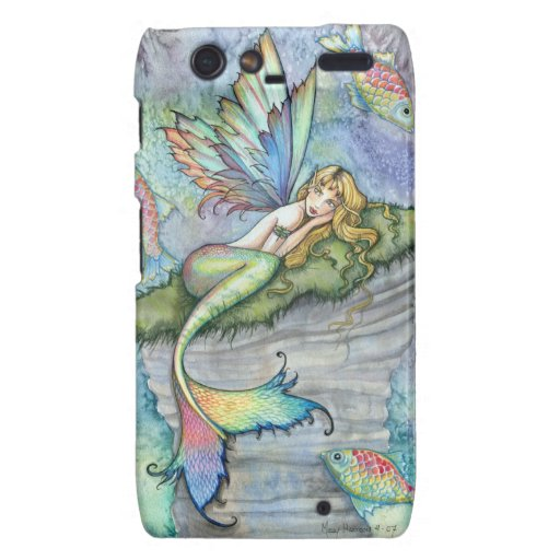 Cute Mermaid with Fish Fantasy Art Droid RAZR Covers