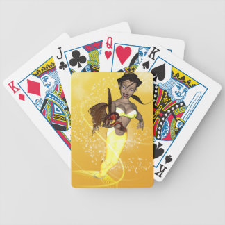 Cute mermaid with funny  fish bicycle playing cards