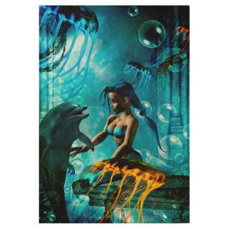 cute mermaid wood poster