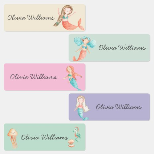 Cute Mermaids Day Care School Name Clothing Labels