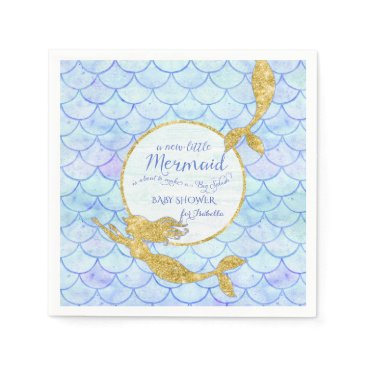 Beach Themed Cute Mermaids Fish Scale Baby Shower Faux Glitter Paper Napkin