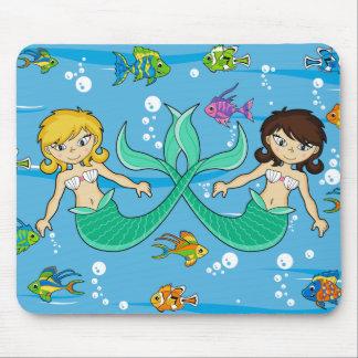 Cute Mermaids with Tropical Fish Mousepad