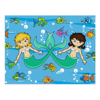 Cute Mermaids with Tropical Fish Postcard