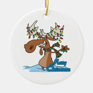 cute merry chrismoose silly christmas moose ceramic ornament