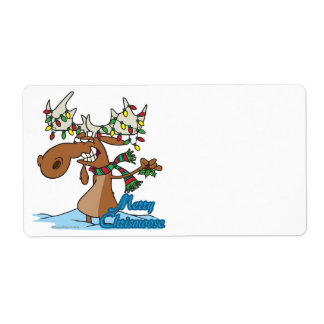 cute merry chrismoose silly christmas moose personalized shipping labels