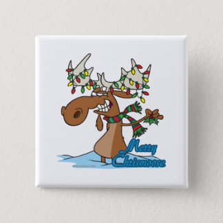 cute merry chrismoose silly christmas moose pinback button