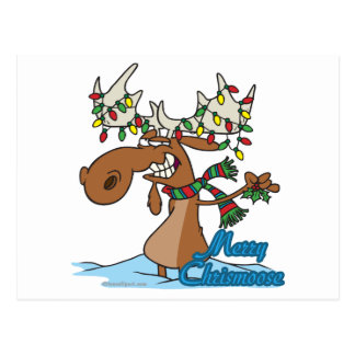 cute merry chrismoose silly christmas moose postcard